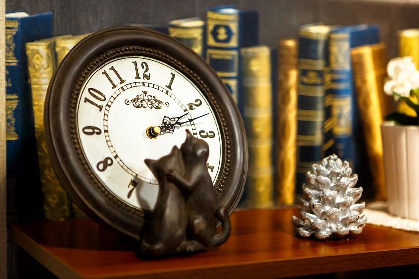 Мини библиотека и часы c котиками, гостиница Абажуръ Томск